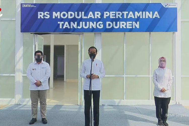 Presiden Jokowi Tinjau RS Modular Pertamina Tanjung Duren. (Tangkapan Layar)