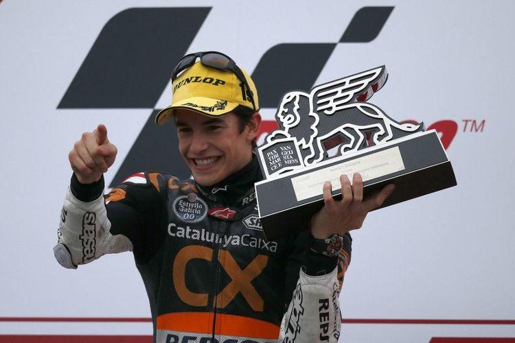 Marc Marquez saat menjadi juara dunia Moto2 2012.  AFP PHOTO / JOSE JORDAN (Photo by JOSE JORDAN / AFP)