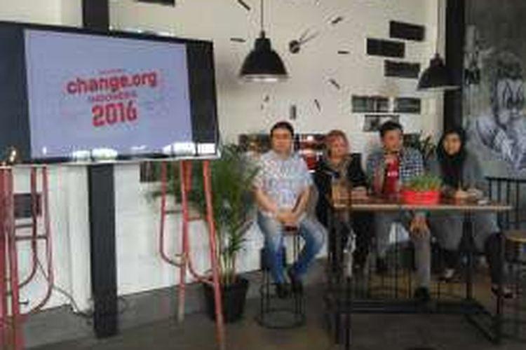 Jumpa pers change.org di Jakarta, Selasa (22/12/2016).