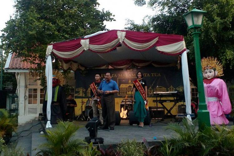 Walikota Jakarta Barat, Anas Efendi saat memberikan sambutan di acara Wisata Malam Kota Tua, Jumat (6/10/2017).