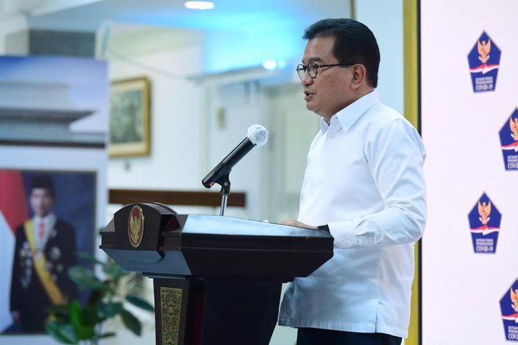 Juru Bicara Satgas Penanganan Covid-19 Prof Wiku Adisasmito aat memberi keterangan pers di Istana Kepresidenan, Selasa (6/10/2020).