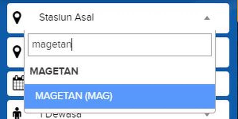 Nama Stasiun Barat di website kai.id sudah terdaftar sebagai Stasiun Magetan (MAG)