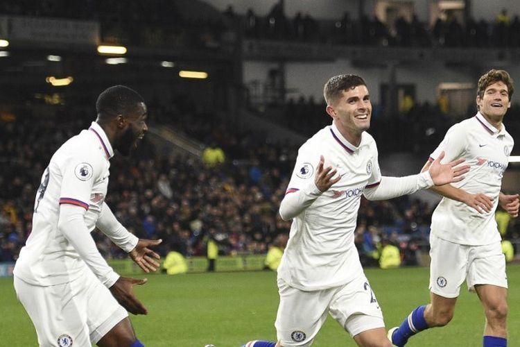 Christian Pulisic mencetak hat-trick sempurna pada pertandingan Burnley vs Chelsea dalam lanjutan Liga Inggris di Stadion Turf Moor, 26 Oktober 2019.