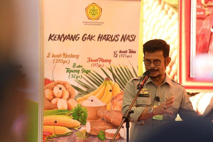 Menteri Pertanian Syahrul Yasin Limpo, saat melakukan Launching Marketplace dan Ekspose Usaha Mikro Kecil dan Menengah (UMKM) Pangan Lokal, di Summarecon Mall Bekasi.