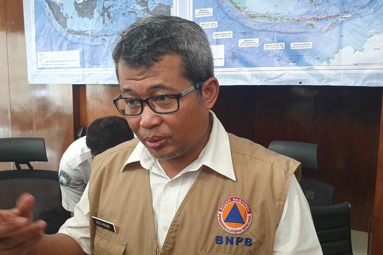 Pelaksana Harian (Plh) Kepala Pusat Data, Informasi, dan Humas BNPB Agus Wibowo saat jumpa pers di Kantor BNPB, Jakarta, Rabu (31/7/2019).