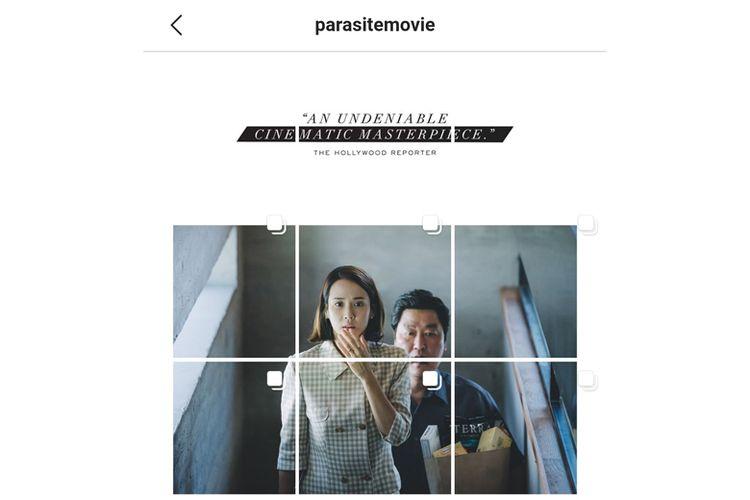 Akun resmi film Parasite memaksimalkan feed Instagram untuk promosi film.