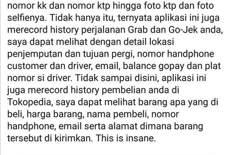 Cuplikan layar atau tangkapan layarpada dinding akun Facebook atas nama Niko Tidar Lantang Perkasa, Rabu (24/7/2019).