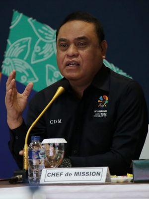 Chef de Mission Indonesia (CdM) untuk Asian Games 2018, Komjen Pol Drs Syafruddin MSi,dalam rapat pimpinan CdM dengan seluruh Pimpinan Cabang Olahraga Asian Games 2018, Kamis, (2/8/2018) di Sekretariat CdM tim Indonesia, STIK PTIK Jalan Tirtayasa No.6 Kebayoran Baru Jakarta Selatan.