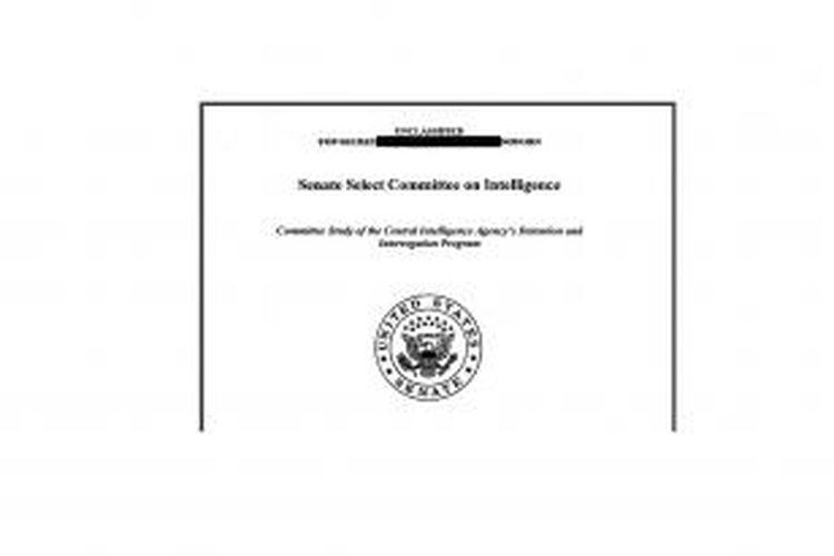 Sampul laporan tentang praktik penyiksaan dalam metode interogasi Badan Intelijen Amerika (CIA) terhadap para tahanan yang diduga terkait dengan Al Qaeda. Laporan berupa ringkasan dari ribuan lembar hasil investigasi Senat atas program CIA itu, dirilis pada Selasa (9/12/2014).