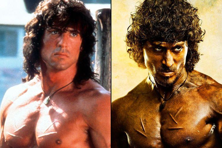 Perbandingan Rambo versi Sylvester Stallone dengan versi Tiger Shroff.
