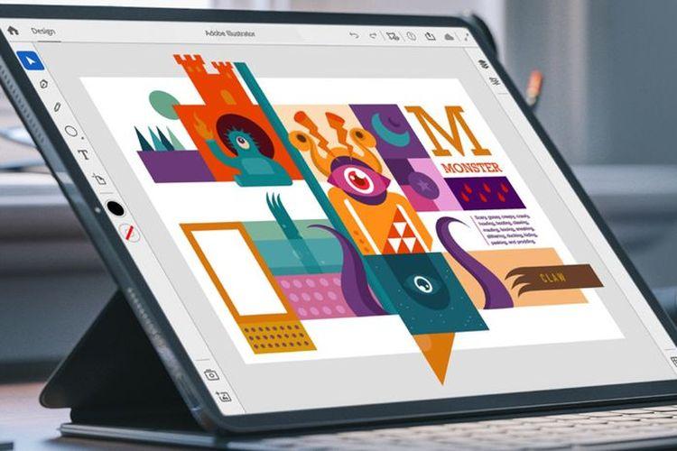 Ilustrasi Adobe Illustrator di iPad.