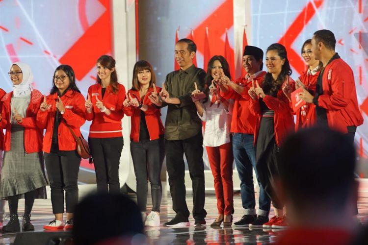 Presiden Joko Widodo saat menghadiri perayaan HUT ke-4 PSI di Jakarta, Minggu (11/11/2018).