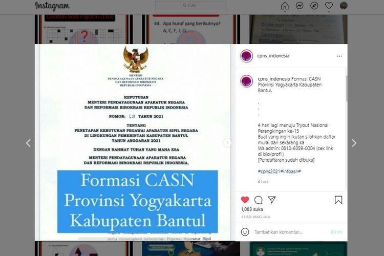 Tangkapan layar terkait formasi CASN 2021 di Pemkab Bantul.