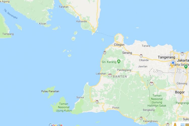 Peta pesisir Serang dan sekitarnya.