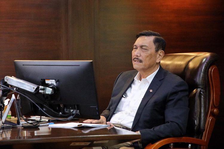Menteri Koordinator Bidang Kemaritiman dan Investasi Luhut Binsar Pandjaitan memberikan sambutan secara virtual, kepada 500 peserta forum yang juga berasal dari Jepang, Jakarta, Selasa (25/8/2020).
