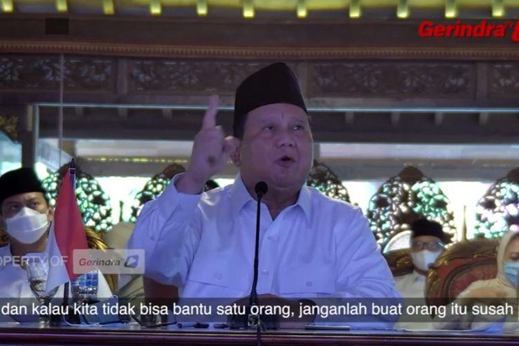 Ketua Umum Partai Gerindra Prabowo Subianto dalam acara peringatan HUT ke-13 Partai Gerindra, Sabtu (6/2/2021).