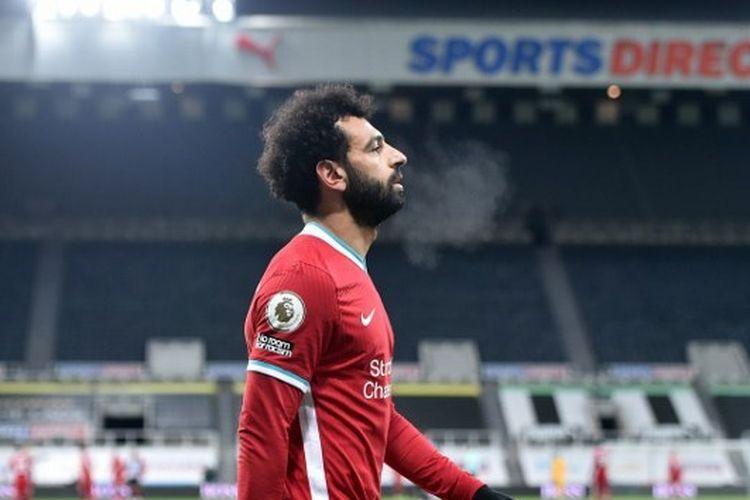 Penyerang Liverpool, Mohamed Salah, bereaksi setelah laga Liga Inggris kontra Newcastle United pada Kamis (31/12/2020) dini hari WIB.