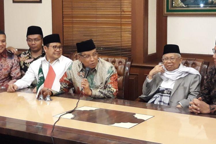 Cawapres Jokowi, Maruf Amin, mendatangi kantor PBNU, Kamis (9/8/2018).