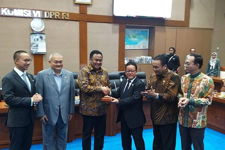 Penetapan pimpinan Komisi VII DPR di Kompleks Parlemen, Senayan, Jakarta, Rabu (30/10/2019).