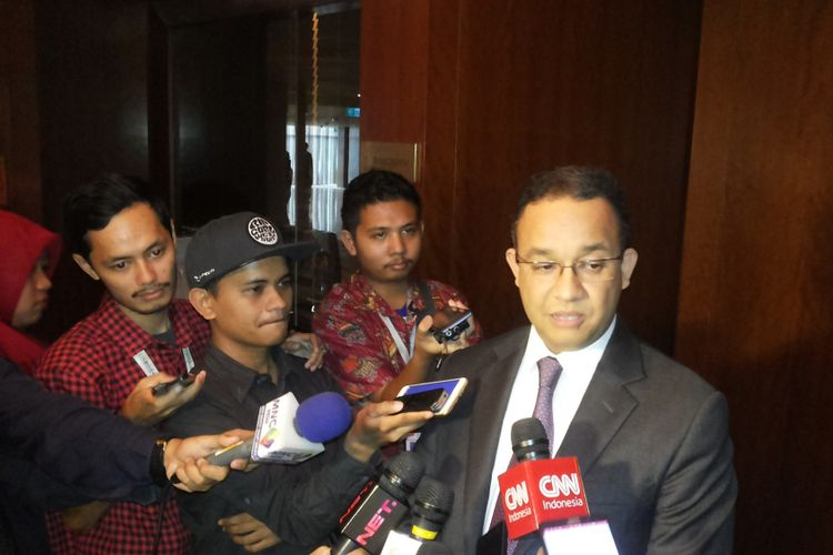 Gubernur terpilih DKI Jakarta Anies Baswedan saat ditemui di Mandarin Hotel, Jakarta, Rabu (24/5/2017).