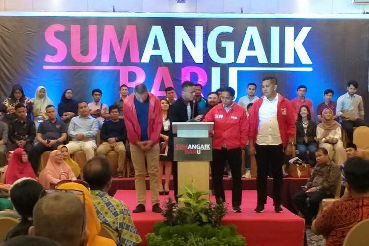 Ketua DPW PSI Sumbar Faldo Maldini menggelar pidato politik di Padang.