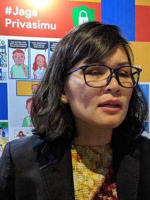 Putri Alam, Head of Public Policy Google Indonesia, di sela-sela acara Jagaprivasimu di kawasan Jakarta Pusat, Selasa (20/8/2019).