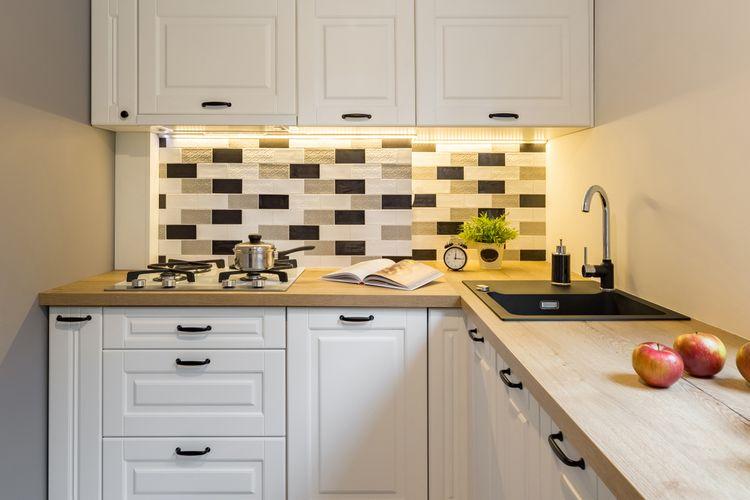 Ilustrasi dapur sempit, dapur kecil.