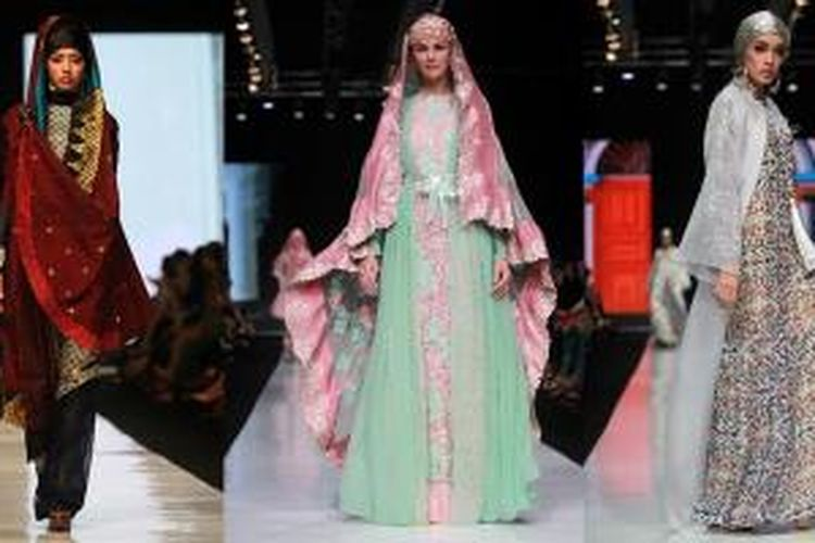 Busana muslim karya desainer Deden Siswanto, Ronald V, dan Itang Yunasz di ajang Jakarta Fashion Week 2014 di Senayan City Jakarta.