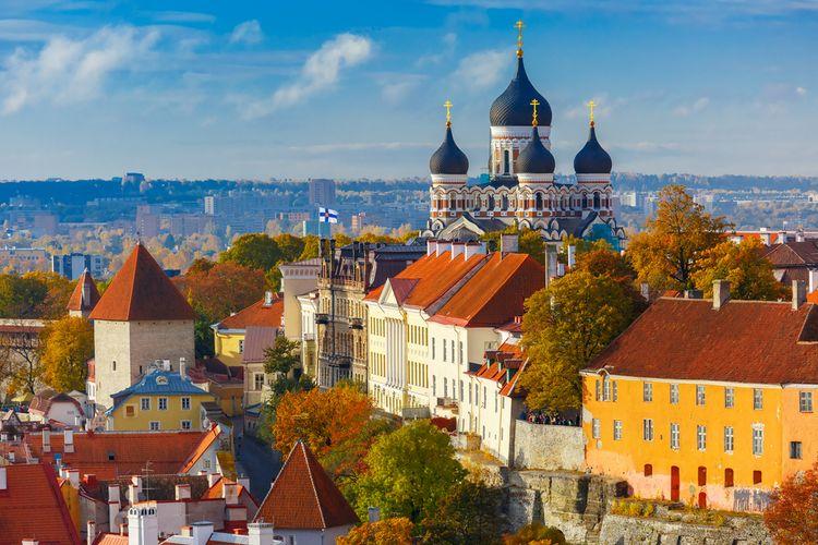 Bukit Toompea dengan kastel dan menara, serta gereja Russian Orthodox Alexander Nevsky Cathedral, dilihat dari menara gereja St. Olaf, Tallinn, Estonia