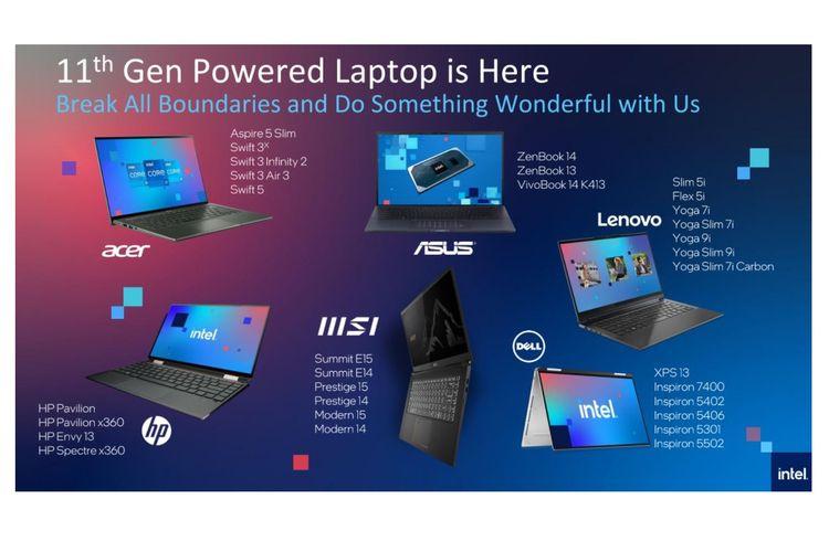 Daftar laptop baru di Indonesia yang bakal ditenagai Intel Core generasi ke-11.