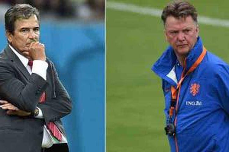 Kombinasi foto yang dibikin pada 3 Juli 2014 yang memperlihatkan pelatih Kosta Rika asal Kolombia, Jorge Luis Pinto (kiri) pada 29 Juni di Recife dan pelatih Belanda, Louis van Gaal, pada 30 Juni 2014 di Rio de Janeiro.