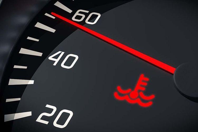 Lampu indikator suhu radiator pada mobil