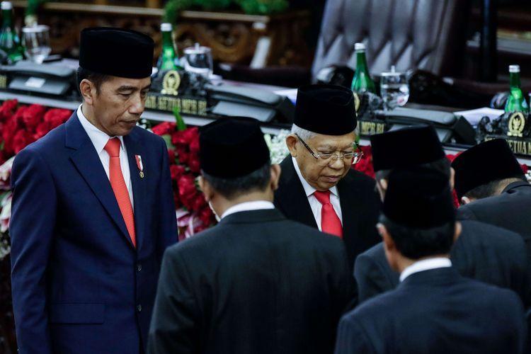 Joko Widodo dan Maruf Amin usai mengucap sumpah jabatan sebagai presiden dan wakil presiden periode 2019-2024 di Gedung MPR/DPR RI, Jakarta, Minggu (20/10/2019).
