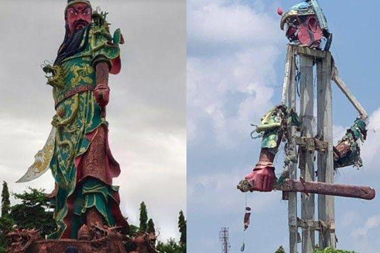 Patung dewa Kong Co Kwan Sing Tee Koen di Kelenteng Kwan Sing Bio sebelum dan sesudah runtuh, Kamis (16/4/2020).