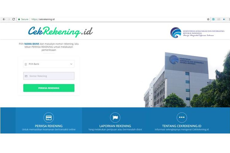 Cekrekening.id, website resmi Kementerian Komunikasi dan Informatika.