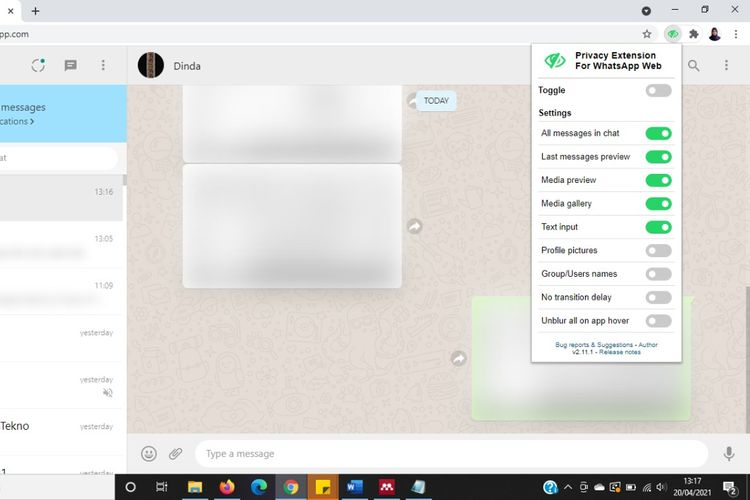 Tangkapan layar pesan pada WhatsApp Web yang disamarkan menggunakan ekstensi di Google Chrome