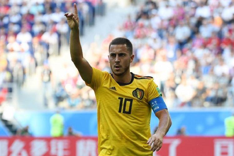 Eden Hazard mencetak satu gol saat Belgia menang atas Inggris pada perebutan posisi ketiga Piala Dunia 2018 di St. Petersburg, 14 Juli 2018.