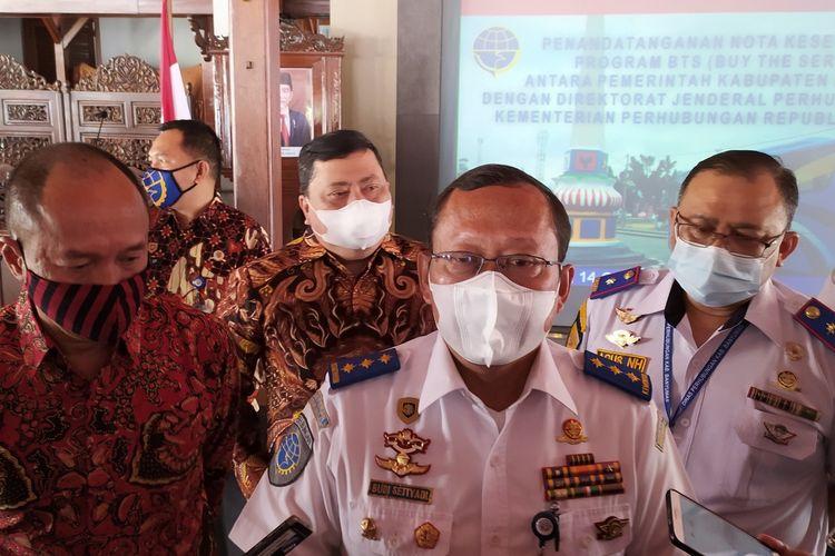 Dirjen Perhubungan Darat Kemenhub Budi Setiyadi di Pendapa Sipanji Purwokerto, Kabupaten Banyumas, Jawa Tengah, Rabu (14/10/2020).