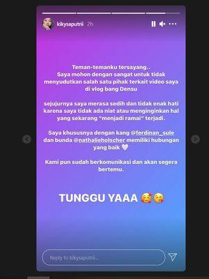 Klarifikasi Kiky Saputri di akun Instagramnya