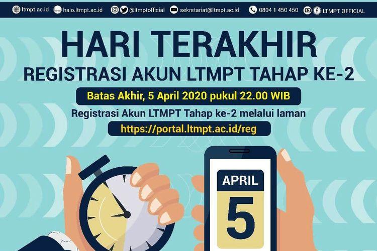 Info hari terakhir registrasi akun LTMPT tahap II, Minggu (5/4/2020).