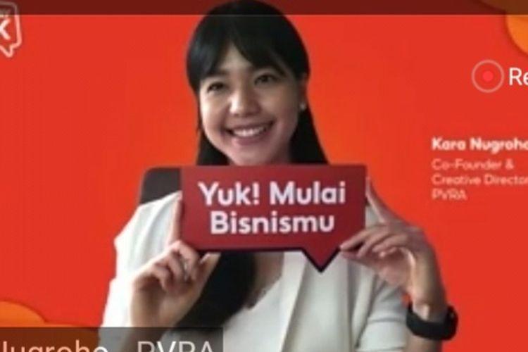 Co-founder & Creative Director PVRA Kara Nugroho dalam ShoppePay Talks yang disiarkan secara virtual, Jumat (18/6/2021). (Tangkapan Layar)
