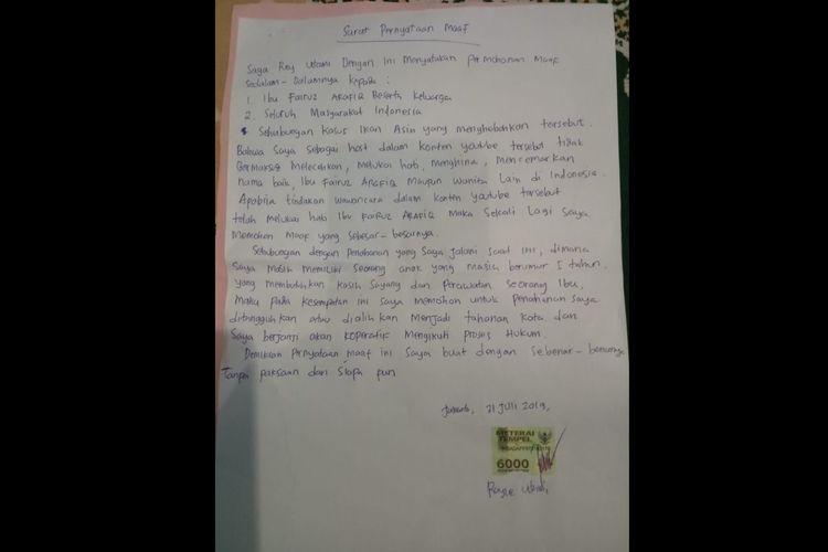 Surat permintaan maaf Rey Utami kepada Fairuz A Rafiq terkait video ikan asin.