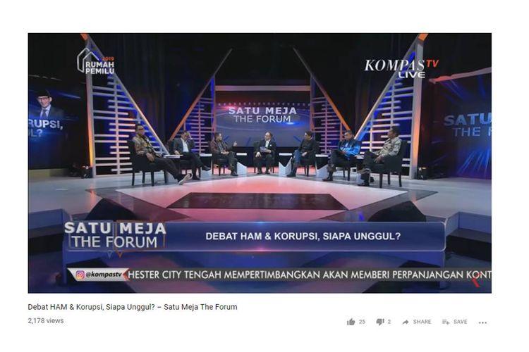 Acara Satu Meja yang ditayangkan Kompas TV pada Rabu (9/1/2019) malam.