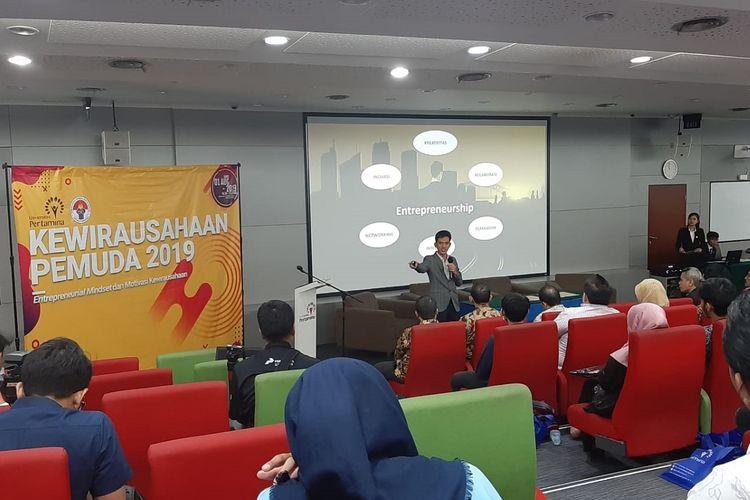 Kuliah umum dengan tema Kewirausahaan Pemuda 2019 di Universitas Pertamina, Jakarta, Kamis (1/8/2019).