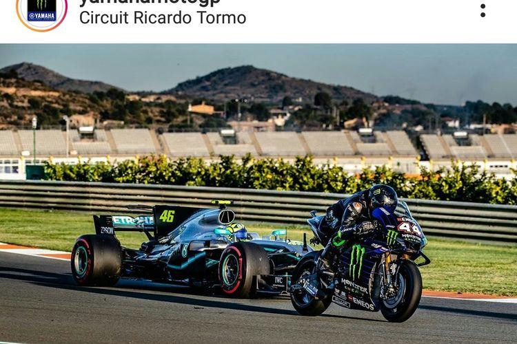 Dua legenda dari dua ajang motorsports, yakni Valentino Rossi (MotoGP) dan Lewis Hamilton (F1) turun ke lintasan dengan kendaraan yang berkebalikan di Sirkuit Ricardo Tormo, Valencia, Senin (9/12/2019).