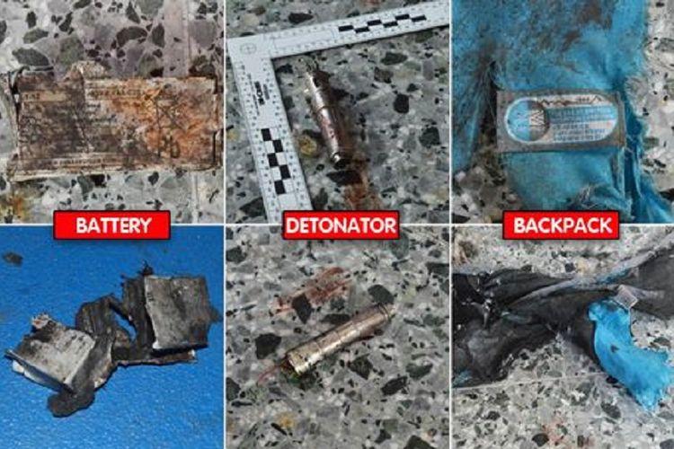 Detonator, tas, baterei, ditemukan di lokasi ledakan bom bunuh diri di Manchester, Inggris.