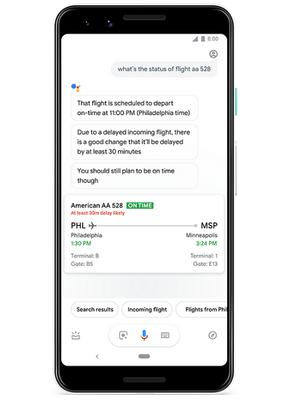 Fitur Google Assistant yang bisa memberi tahu apakah pesawat delay atau tidak.