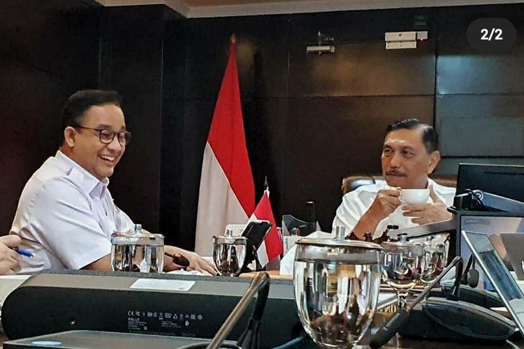 Gubernur DKI Jakarta Anies Baswedan dan Menko Kemaritiman dan Investasi Luhut Binsar Pandjaitan dalam pertemuan di Jakarta, Rabu (10/3/2021).