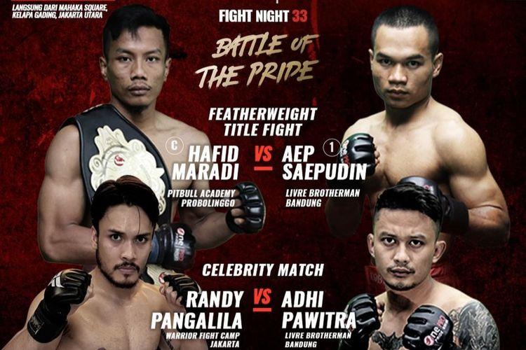 One Pride Pro Never Quit kompetisi MMA akan segera hadir di Mahaka Square Kelapa Gading, Jakarta Utara hari Sabtu, 26 Oktober 2019.