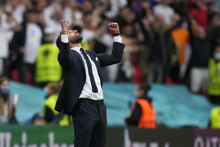 Reaksi pelatih timnas Inggris Gareth Southgate setelah laga Inggris vs Jerman di babak 16 besar Euro 2020 di London, Selasa (29/6/2021).